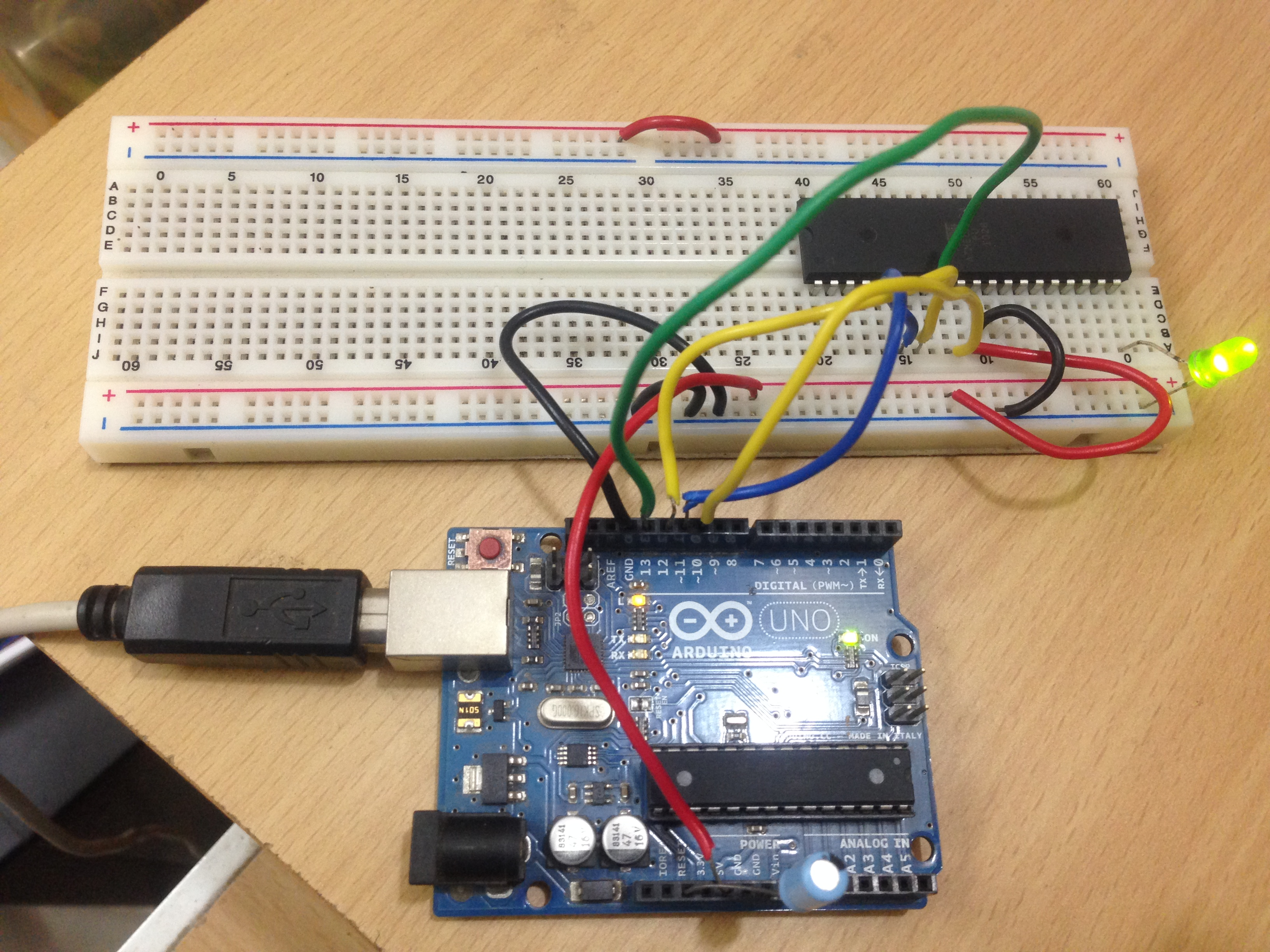 Use Arduino As An Isp Programmer To Program Non Avr Atmega8 Breadboard Circuit Part 1 Of 3 Power Supply Atmega 16 Using