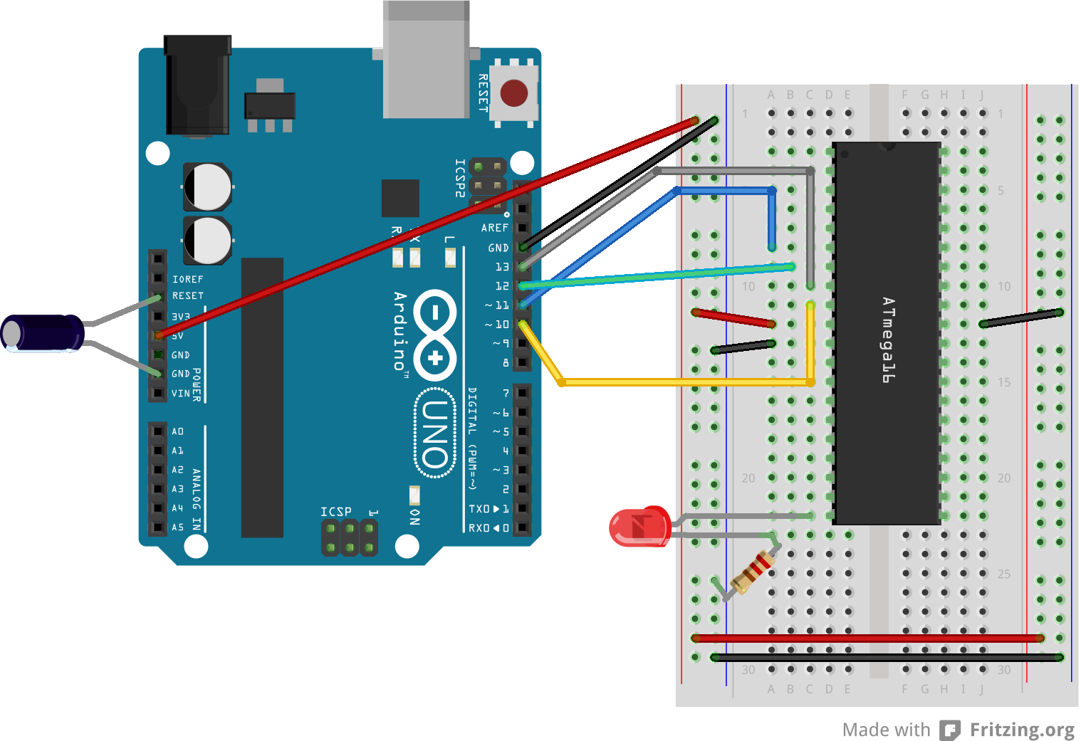 Use Arduino As An Isp Programmer To Program Non Avr Software Provides Environment Test Our Microcontroller Atmega 16 Using